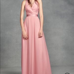 CHIFFON HALTER DRESS WITH TULLE BOW
